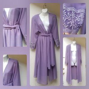 Vintage 80s Lavender Evening Kimono